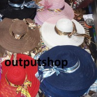 Topi pantai jerami lebar \ floppy straw ribbon wide large brim wanita