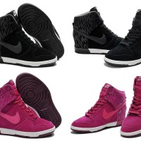 NIKE DUNK SKY HI sneaker sepatu wedges high print zigzag black pink