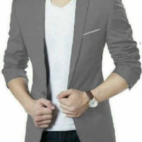 [Blazer Hugo grey OT] blazer pria katun stretch grey