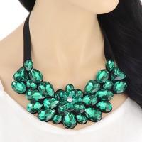 Kalung   Necklace Bib Vintage Korea Green C58354