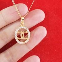 harga Kalung Liontin Chanel Lapis Emas Gold Plated Necklace Tokopedia.com