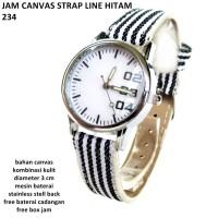 jam tangan wanita strap line canvas 234 hitam full setZ5