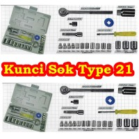 Kunci Sok Type 21 Pcs Socket Set Wrench Motor