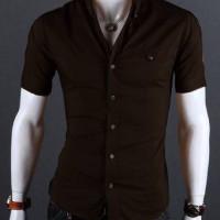 Kemeja Pria Lengan Pendek Barry Coklat Baju Kantor Formal Slimfit