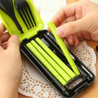 Jual Set Alat Makan sendok sumpit garpu Korean style dapur travel portable Murah