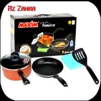 Panci + Wajan MAXIM Venice Set 5 Pcs | Frypan, Saucepan, Spatula Murah