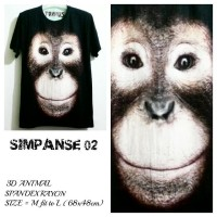 harga T Shirt Kaos 3D Animal | SIMPANSE 02 Tokopedia.com