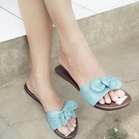 Sendal Sandal Teplek Wanita Pita Ribbon Biru