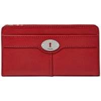 Fossil Marlow Zip Clutch Red