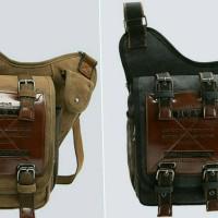 Tas slempang kanvas pria / selempang kulit sling shoulder bag keren