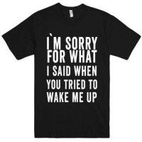 T-SHIRT I'M SORRY FOR WHAT I SAID WHEN YOU TIRED TO WAKE ME UP TEE