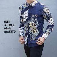 harga Baju Batik Pria Modern Slimfit Lengan Panjang CB 90 Tokopedia.com