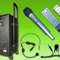 Microphone wireless portable sound system dvd usb bluetooth