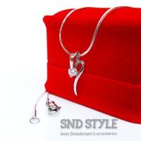 kalung+liontin diamond silver titanium 316L|kalung wanita cewek