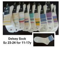 Kaos Kaki Anak Remaja 11-17 Thn Putih Stripe DelSey