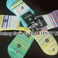 Kaos Kaki Anak Remaja Warna Stripe Putih DelSey