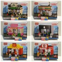 Jual lego hsanhe mini street Fast Food and Cafe plus minifigure set lengkap Murah