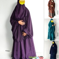New Set Gamis Akhwat Syari Model Umbrella Bahan Wolfis Warna Violet