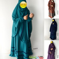 New Set Gamis Akhwat Syari Model Umbrella Bahan Wolfis Warna Tosca