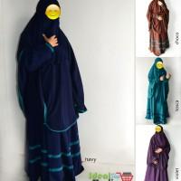 New Set Gamis Akhwat Syari Model Umbrella Bahan Wolfis Warna Navy