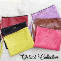 Custom Initial Name Clutch Ostrich Collection