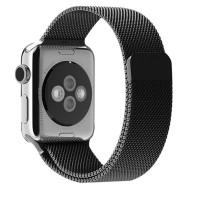 Wakaka Milanese Loop Magnetic Stainless Band Apple Watch 42mm - Hitam