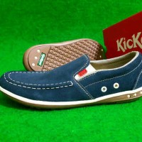 Sepatu Kickers Navy Slip On Leather Suede