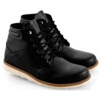 Sepatu Kets Boot Pria Cowok Casual Sneakers Tali EW432 Hitam