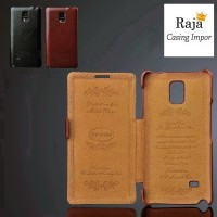 harga Samsung Galaxy Note 4 leather case flip case cover handphone IMPOR Tokopedia.com