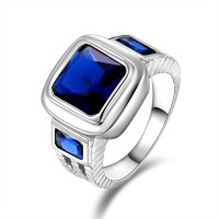 Cincin Pria Amazing Aquamarine Safir Topaz 10KT White Gold Filled