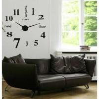 Jual DIY Giant Wall Clock Alpha Number / Jam Dinding Besar Silver & Black Murah