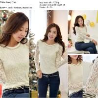 Kaos Blouse Lace Lengan Panjang Putih Import Murah Murah