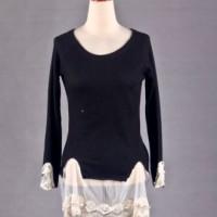 Knitted Blouse Rajut Lace Lengan Panjang Hitam Import M Murah