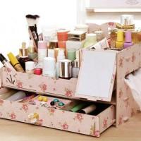 Rak kosmetik kayu + cermin  / Cosmetic rack organizer mirror