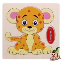 harga ET014 Wooden Puzzle Leopard/ binatang safari macan tutul puzzle anak Tokopedia.com