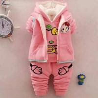 harga Jaket Hoodie Anak Perempuan Hello Kitty 3in1 + Outer Rompi + Celana Tokopedia.com
