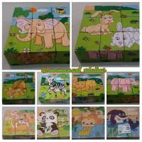 Mainan Kayu Edukasi Edukatif Import - Puzzle Blok Block 6 Gambar