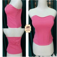 bustier tulang 4 bahan polyester shocking pink