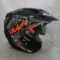Helm 2 kaca (Double Visor) Murah Black doff Orange DUKE DMN