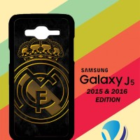 Custom Casing HP Samsung Galaxy J5 2015 / 2016 real madrid logo Gold Z