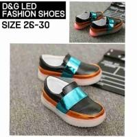 Sepatu LED D&G Black Orange Blue Sepatu Lampu D and G