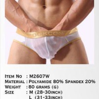 Celana Dalam Pria Cockcon Gold Brief Transparent M2607w White