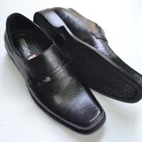 Sepatu Pantofel Kerja Kantor Formal Pria Kulit Asli Crocodile Hitam A2