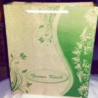 tas kertas batik hijau P18 x T22 x L6 cm