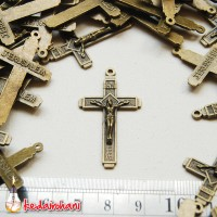Bandul Salib Tembaga Logam Bakar - Bahan Kalung Rosario/ Gantung Kunci