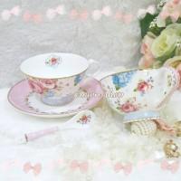 harga teacup floris cangkir tea set shabby chic pink Tokopedia.com