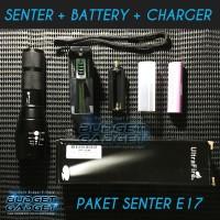 Jual PAKET HEMAT Senter ULTRAFIRE LED Cree XM-L T6 2000 Lumens E17 Murah