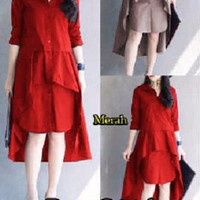 [ Dress Cristal SW] pakaian wanita dress korea warna merah dan m 3W14
