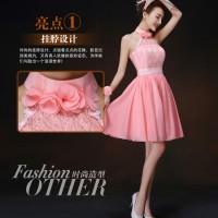 Gaun pesta wanita model simple dan elegant warna pink peach