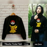 Jual Jaket Pikachu Pockeball Crop Sweater Black Pokemon Hitam Murah